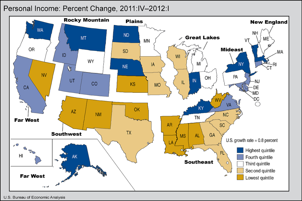 Personal Income In States Grows US Bureau Of Economic Analysis - Us State Quarter Map