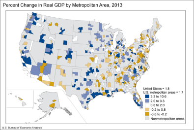 Percent Change in Real GDP by Metropolitan Area