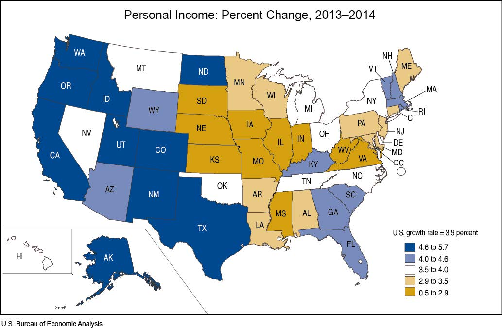 State Personal Income 2014 Us Bureau Of Economic Analysis - Income-map-of-us
