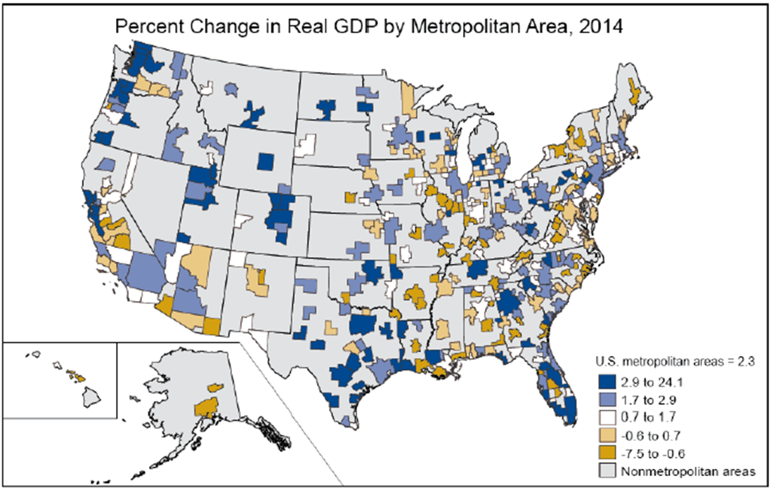 Widespread Growth Across Metropolitan Areas US Bureau Of - Us gdp map