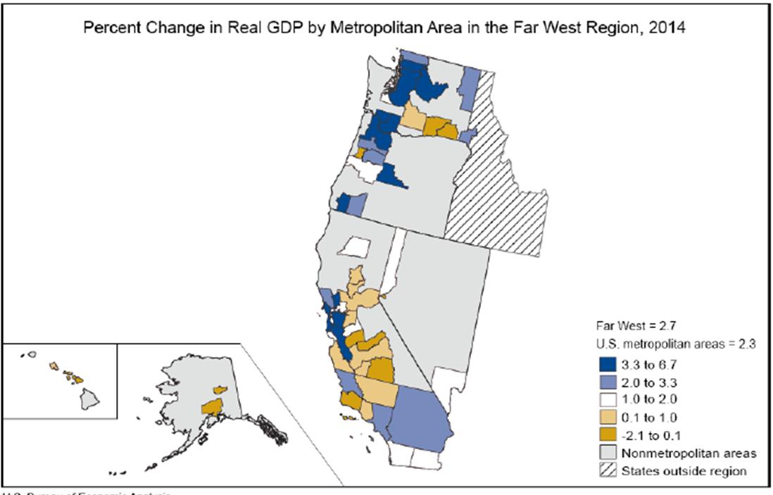 Widespread Growth In The Far West Region US Bureau Of Economic - Us west region map