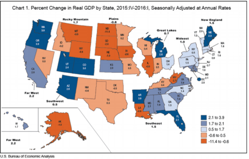 Gross Domestic Product  >> Gross Domestic Product By State First Quarter 2016 U S Bureau Of
